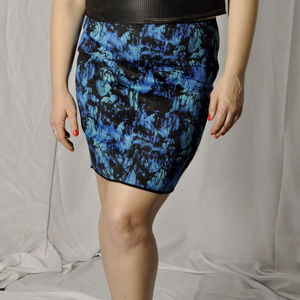 NWOT Calvin Klein Blue Watercolor Size 12 Skirt